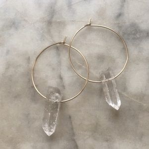Gold and quartz crystal hoops